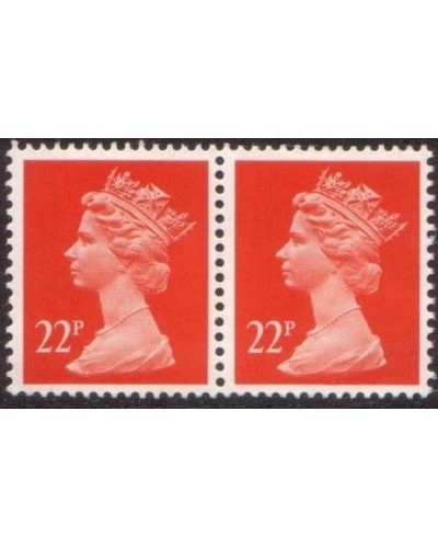 Great Britain 1990 SGX964m 22p Machin pair MNH