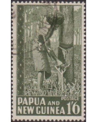 Papua New Guinea 1952 SG11 1/6d Rubber Tapping FU