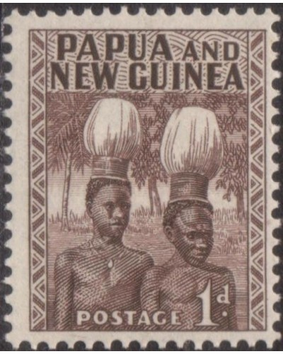 Papua New Guinea 1952 SG2 1d Buka Head-dresses MLH