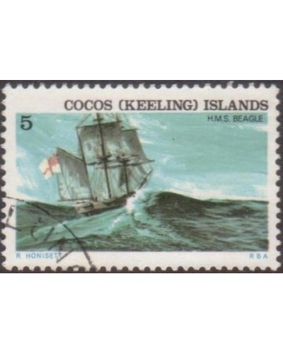 Cocos Islands 1976 SG22 5c Ship HMS Beagle FU