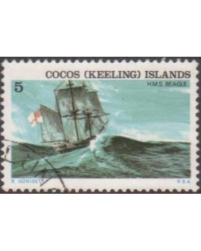 Cocos Islands 1976 SG22 5c Ship HMS Beagle FU
