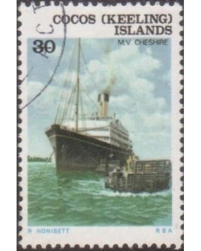 Cocos Islands 1976 SG27 30c Ship MV Cheshire FU