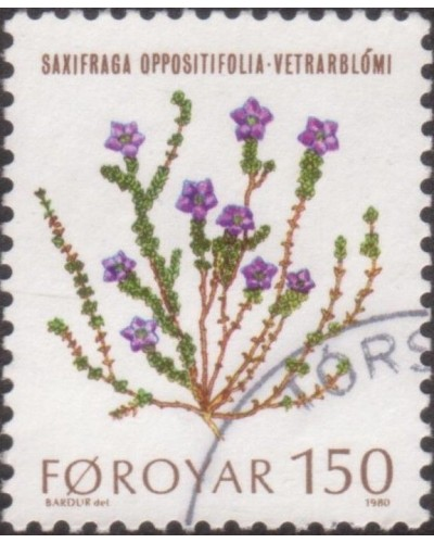 Faroe Islands 1980 SG49 150o Purple Saxifrages FU