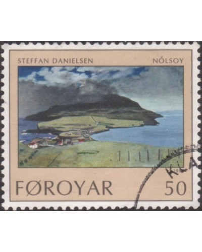 Faroe Islands 1990 SG200 50o Nolsoy from Hilltop painting FU