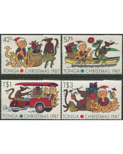 Tonga 1987 SG981-984 Christmas Cartoons set MNH