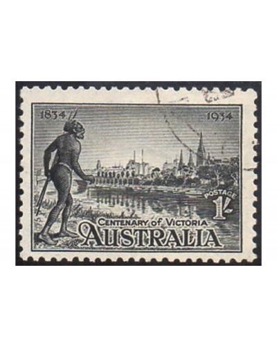 Australia 1934 SG149a 1/- Victoria Centenary, p11½ no gum CTO