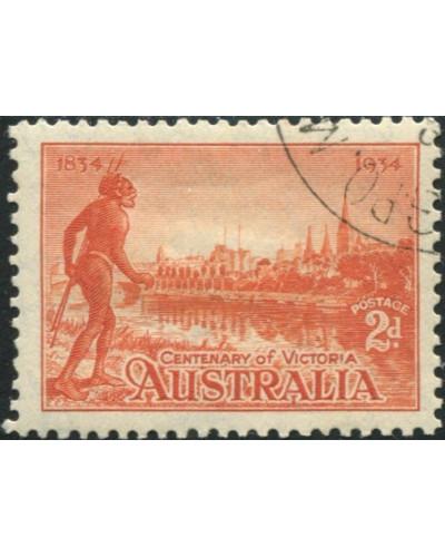 Australia 1934 SG147 2d Victoria Centenary, perf 10½ hinged CTO