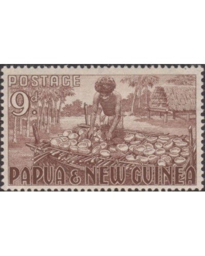 Papua New Guinea 1952 SG9 9d Copra Making MNH