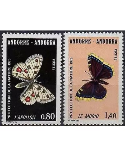 Andorra 1976 Sc#251-252,SGF277-278 Nature Protection. Butterflies MNH