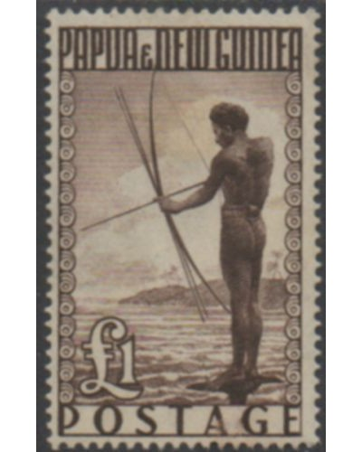 Papua New Guinea 1952 SG15 ₤1 Papuan Fisherman MH