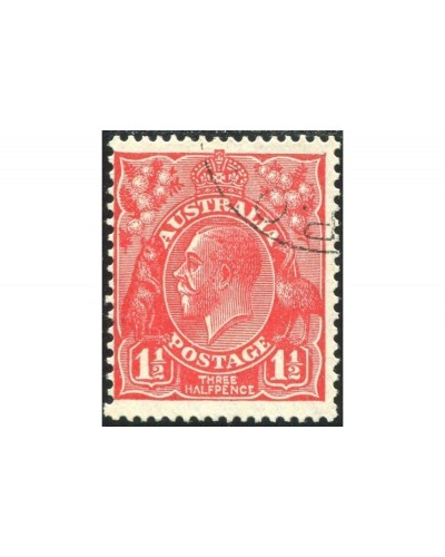 Australia 1927 Sc#68,SG96 KGV 1½d red Small Multiple Wmk P13½ x 12½ no gum CTO