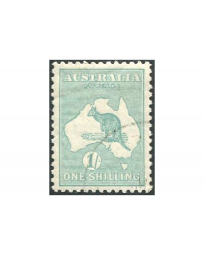 Australia 1929 Sc#98,SG109 Kangaroo 1/- blue-green SMW full gum CTO