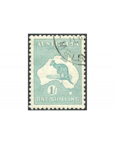Australia 1929 Sc#98,SG109 Kangaroo 1/- blue-green SMW with gum CTO