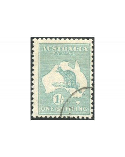 Australia 1929 Sc#98,SG109 Kangaroo 1/- blue-green Small Multiple Wmk gum CTO