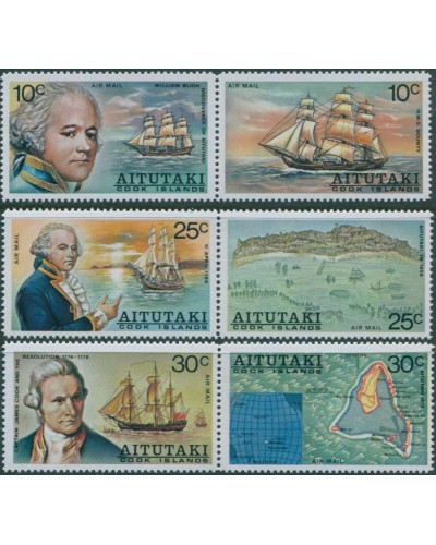 Aitutaki 1974 SG123-128 William Bligh Discovery Airmail set MNH