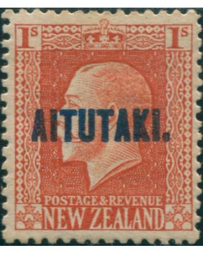Aitutaki 1917 SG18 1s vermilion KGV MH