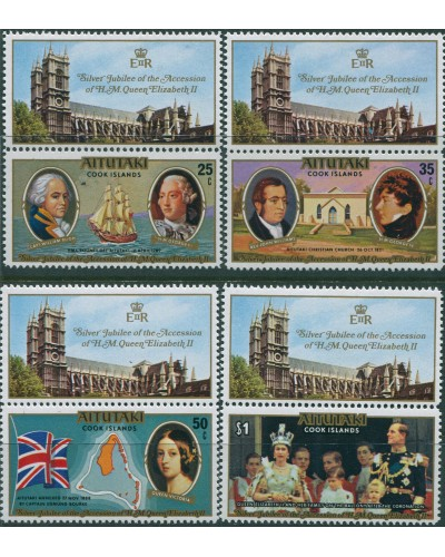Aitutaki 1977 SG225-228 Silver Jubilee with tabs set MNH
