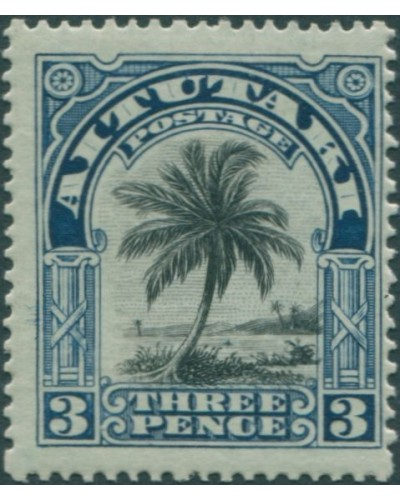 Aitutaki 1920 SG27 3d black and deep blue Palm Tree MLH