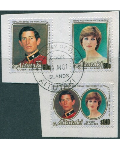 Aitutaki 1981 SG391-393 Royal Wedding set on piece FU