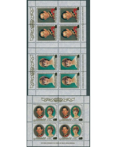 Aitutaki 1981 SG391-393 Royal Wedding sheetlets MNH