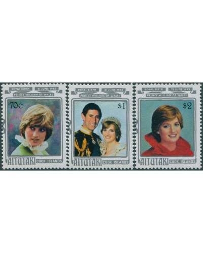 Aitutaki 1982 SG421-423 Prince William birth set MNH