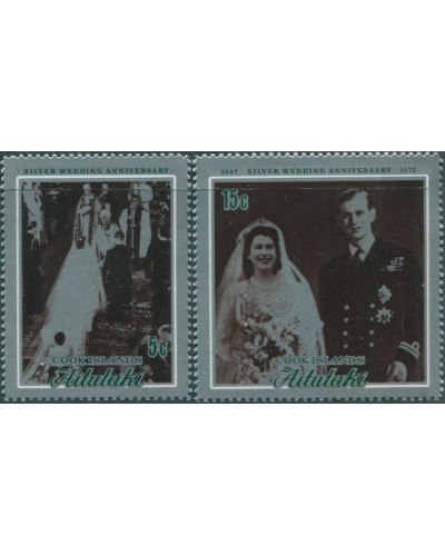 Aitutaki 1972 SG46-47 Silver Wedding MLH