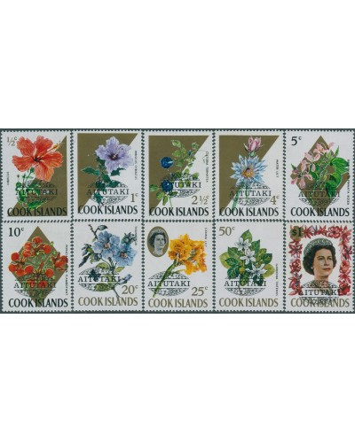 Aitutaki 1972 SG49-58 Flowers QEII ovpts set MNH