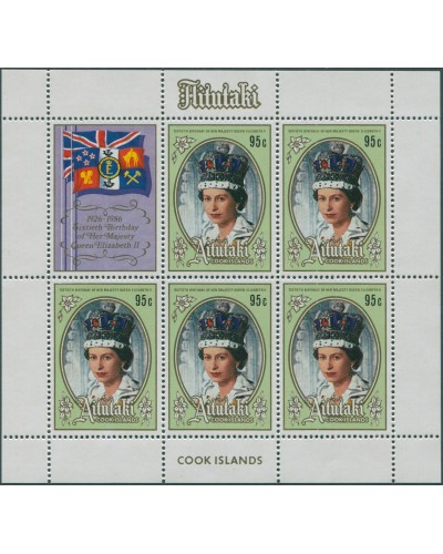 Aitutaki 1986 SG542 QEII 60th Birthday sheetlet MNH