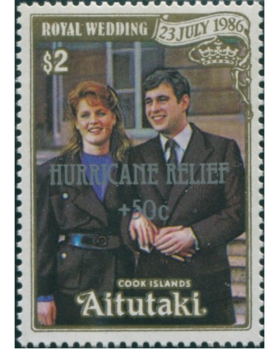 Aitutaki 1987 SG568 $2 Royal Wedding Hurricane Relief MNH