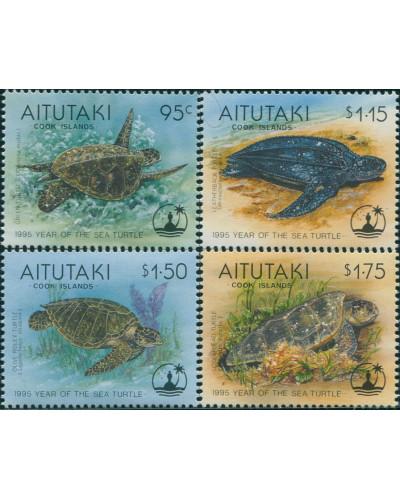 Aitutaki 1995 SG690-693 Year of the Turtle set MNH