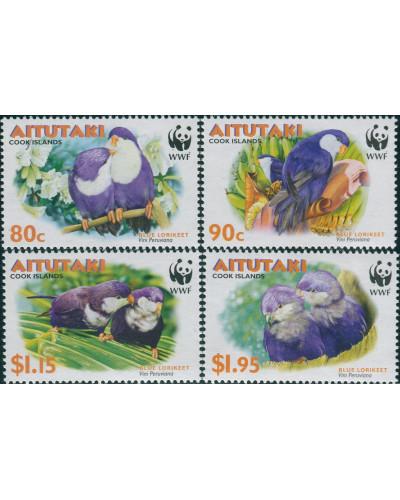 Aitutaki 2002 SG717-720 WWF Blue Lorikeet set MNH