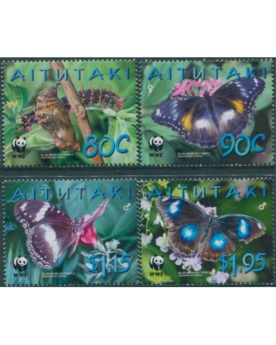 Aitutaki 2008 SG723-726 WWF Butterflies set MNH
