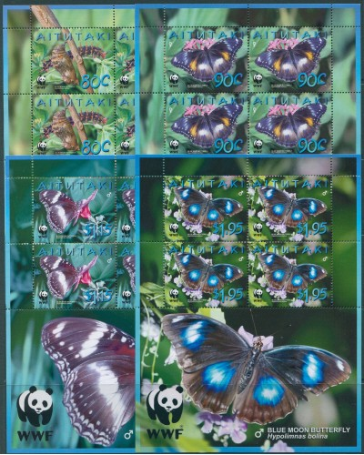 Aitutaki 2008 SG726S WWF Butterfly sheetlets MNH