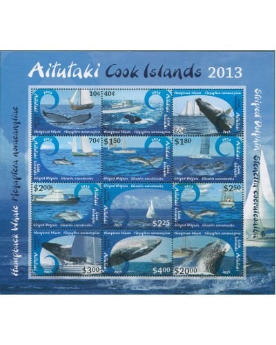 Aitutaki 2012 SG803 Whales Dolphins Ships MS MNH