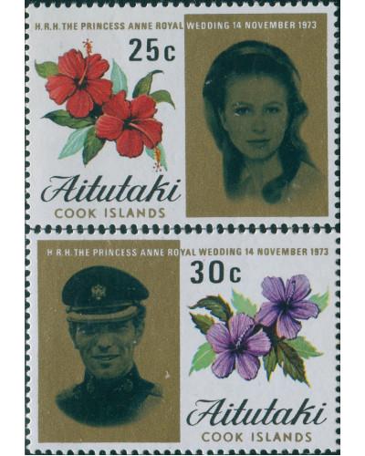 Aitutaki 1973 SG82-83 Princess Anne Wedding set MNH