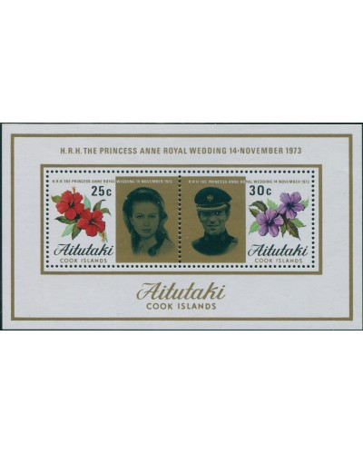 Aitutaki 1973 SG84 Princess Anne Wedding MS MLH
