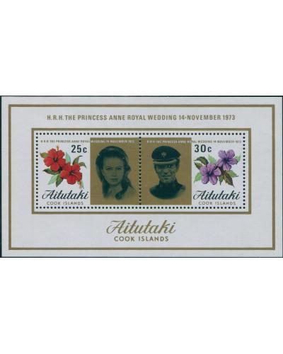Aitutaki 1973 SG84 Princess Anne Wedding MS MNH
