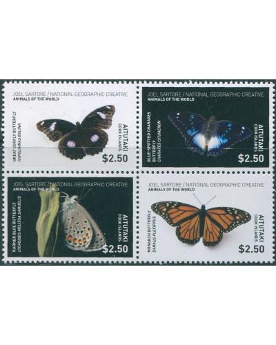 Aitutaki 2017  SG869-872 Butterflies set MNH