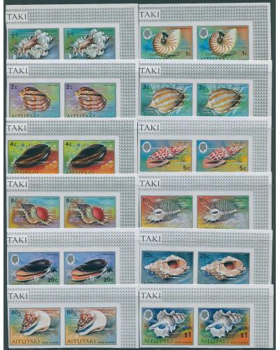 Aitutaki 1974 SG97-108 Shell definitives (12) imperf x 2 MNH
