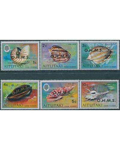 Aitutaki OHMS 1978 SGO1-O6 Shell definitives (6) MNH