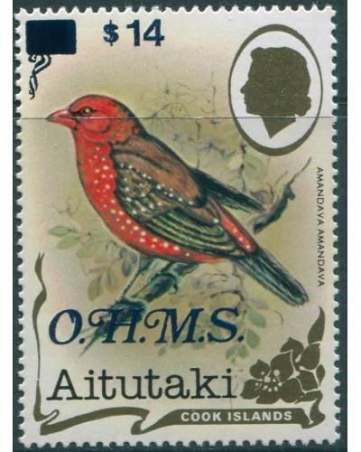 Aitutaki OHMS 1985 SGO36 $14 on $4 Red Munia MNH