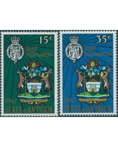 Antigua 1967 SG206-207 Treaty of Breda Arms set MNH