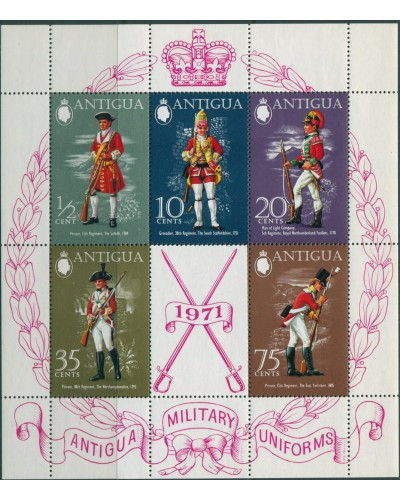 Antigua 1971 SG308 Military Uniforms MS MNH