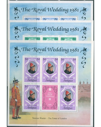 Antigua 1979 SG702-704 Royal Wedding sheets MNH