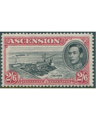 Ascension 1938 SG45 2/6d black and red KGVI Pier MNH