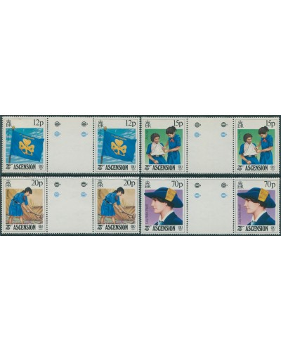 Ascension 1985 SG385-388 Girl Guides IYY gutter pairs set MNH