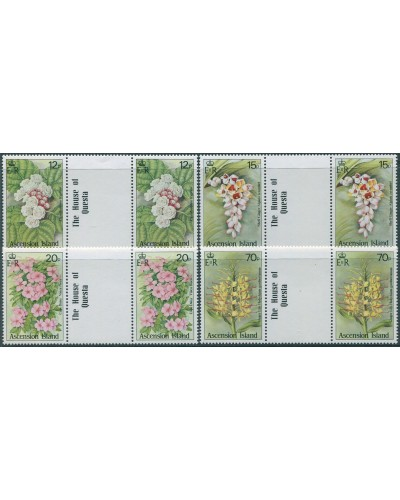 Ascension 1985 SG389-392 Wild Flowers gutter pairs set MNH