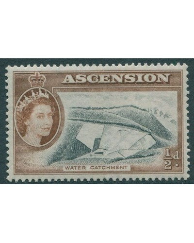 Ascension 1956 SG57 ½c black and brown Water Catchment QEII MLH