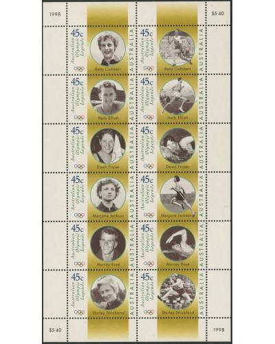 Australia 1998 SG1731-1742 Olympic Legends sheetlet of 12 MNH