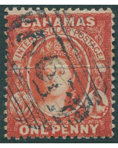 Bahamas 1860 SG33 1d red QV natural paper crease FU